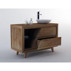 Détail ouverture tiroir du Meuble teck simple vasque pour salle de bain KUPANG - 120 cm - Kayumanis