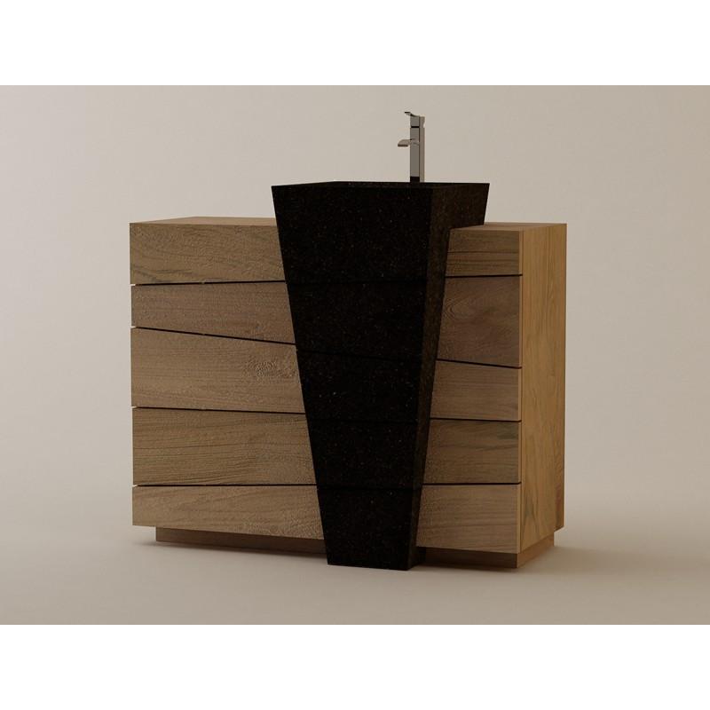 Meuble teck Senadung à vasque béton ciré noire