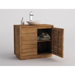Meuble teck salle de bain SANTANI - 90cm