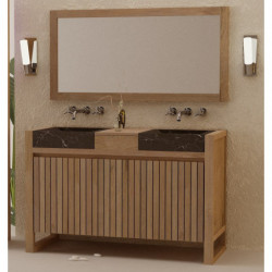 Meuble teck salle de bain Senadung à vasque béton ciré noire, miroir en teck, bandeau halogène en teck - design Kayumanis