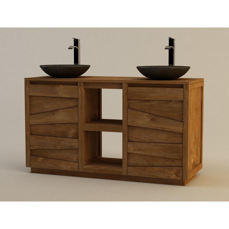 Meuble de salle de bain en teck groovy pour double vasque poser - Meuble pour poser vasque ...