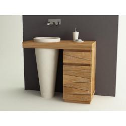 Meuble salle de bain en teck une vasque béton ciré - Design Kayumanis