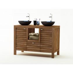 SEBATIK meuble de salle de bain en teck de KAYUMANIS doté de deux portes et d'un tiroir, présenté avec deux vasques bols
