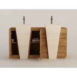 meuble salle de bain teck massif et double vasque béton ciré Senadung - Design Kayumanis