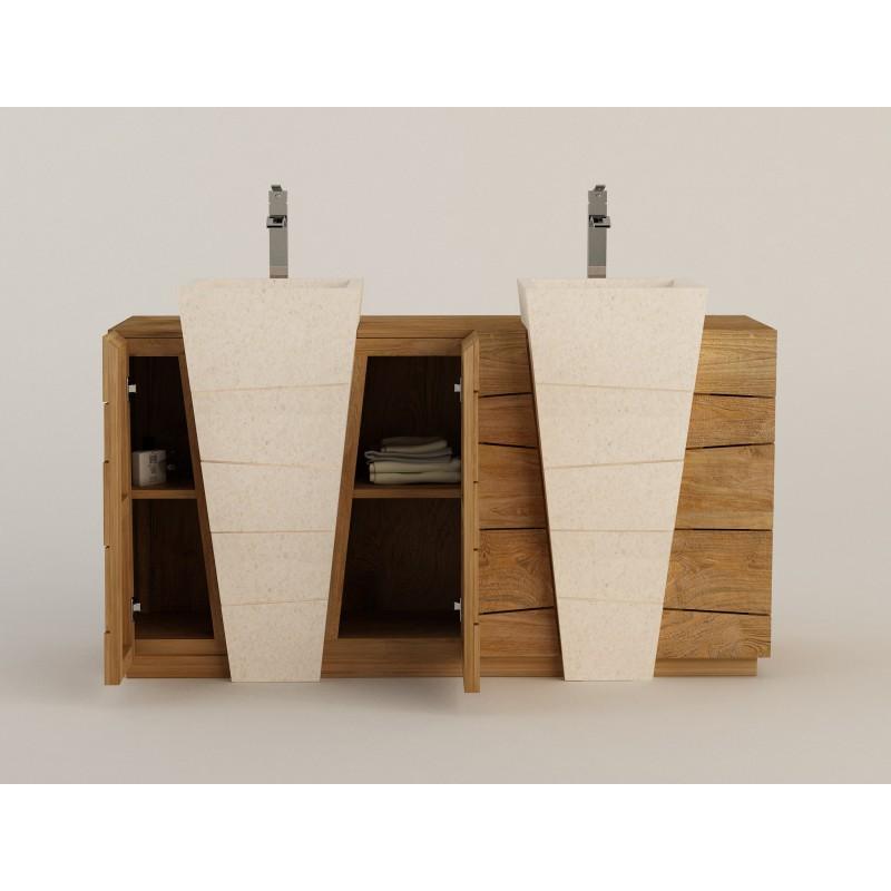 Meuble teck salle de bain double vasque b ton cir senadung kayumanis for Vasque salle bain design