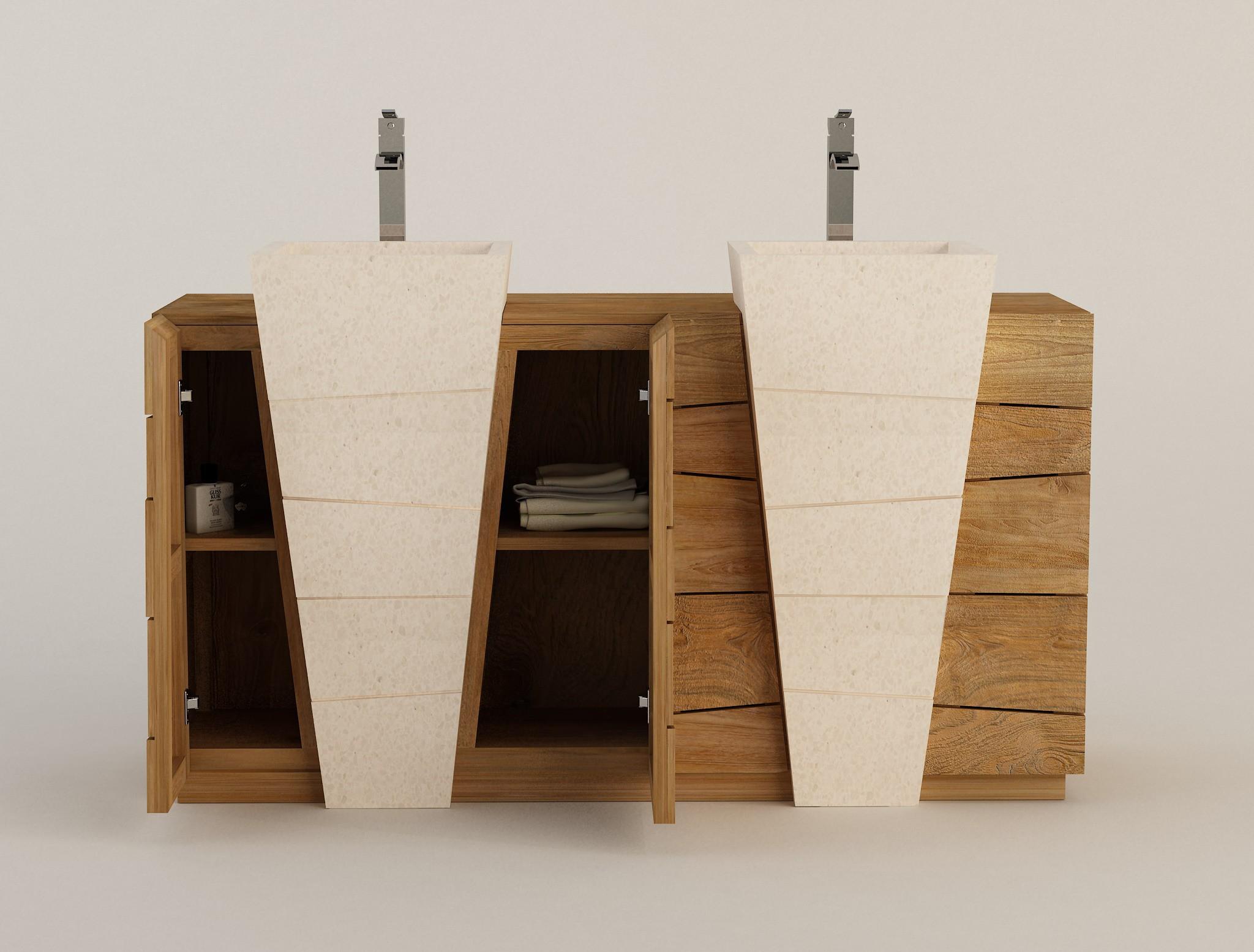 Meuble teck salle de bain double vasque béton ciré Senadung Kayumanis