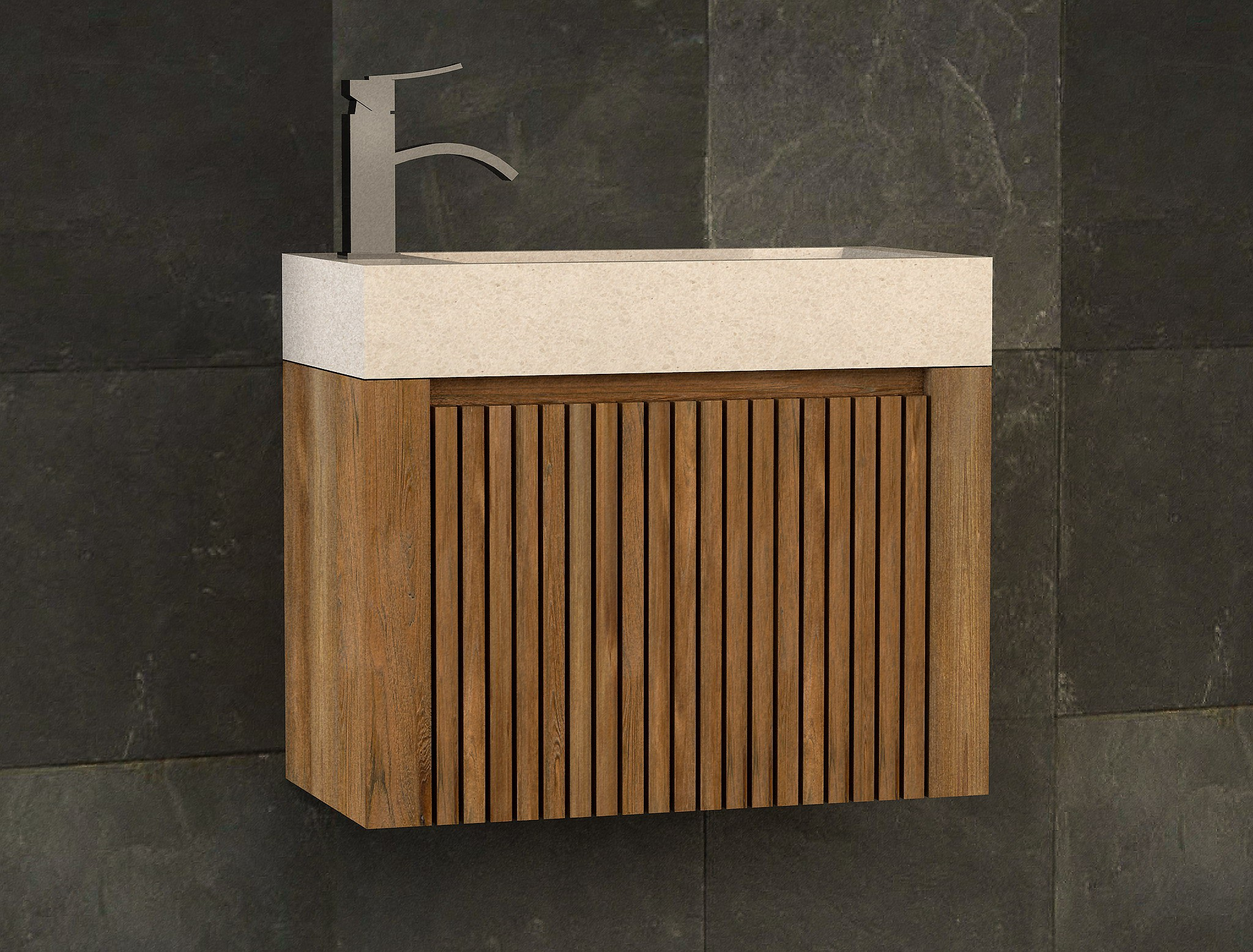 Meuble En Béton Ciré lave mains en teck et vasque encastrée en béton ciré raibu kayumanis