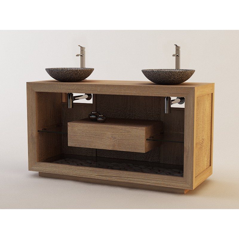 Meuble teck salle de bain sumatra 140cm for Meuble salle de bain tout en un