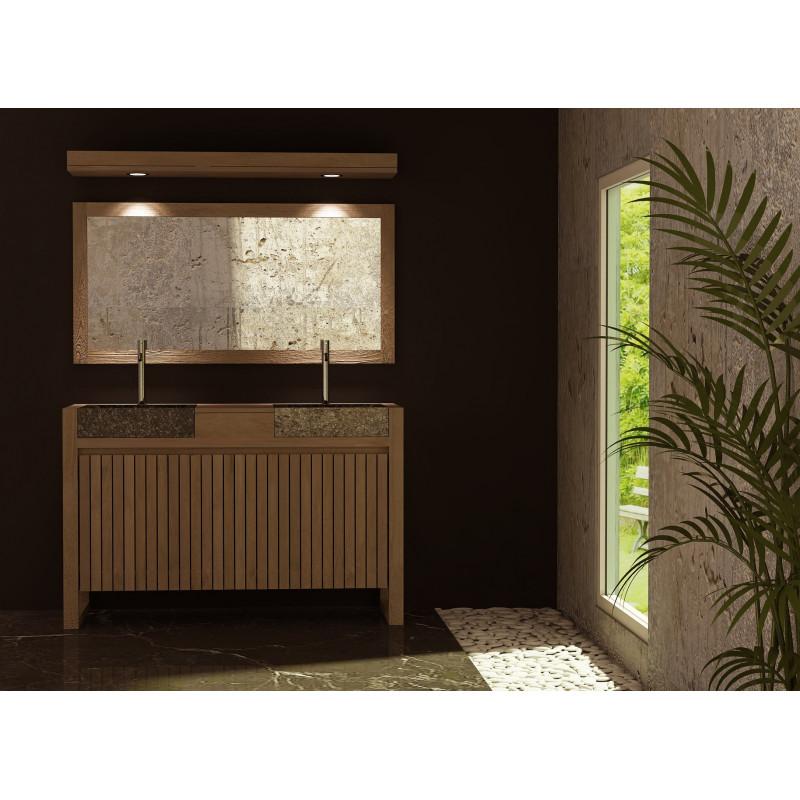 meuble teck et 2 vasques en b ton cir encastr es kayumanis. Black Bedroom Furniture Sets. Home Design Ideas