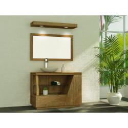 Meuble teck de salle de bain Liane avec miroir teck et bandeau halogène teck de Kayumanis
