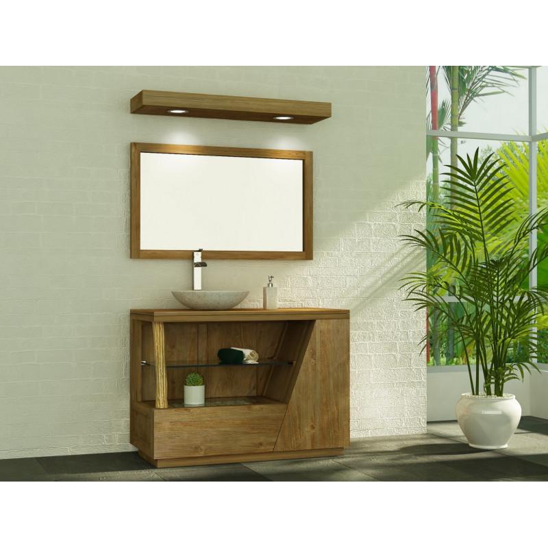 Meuble de salle de bain en teck LIANE pour simple vasque bol