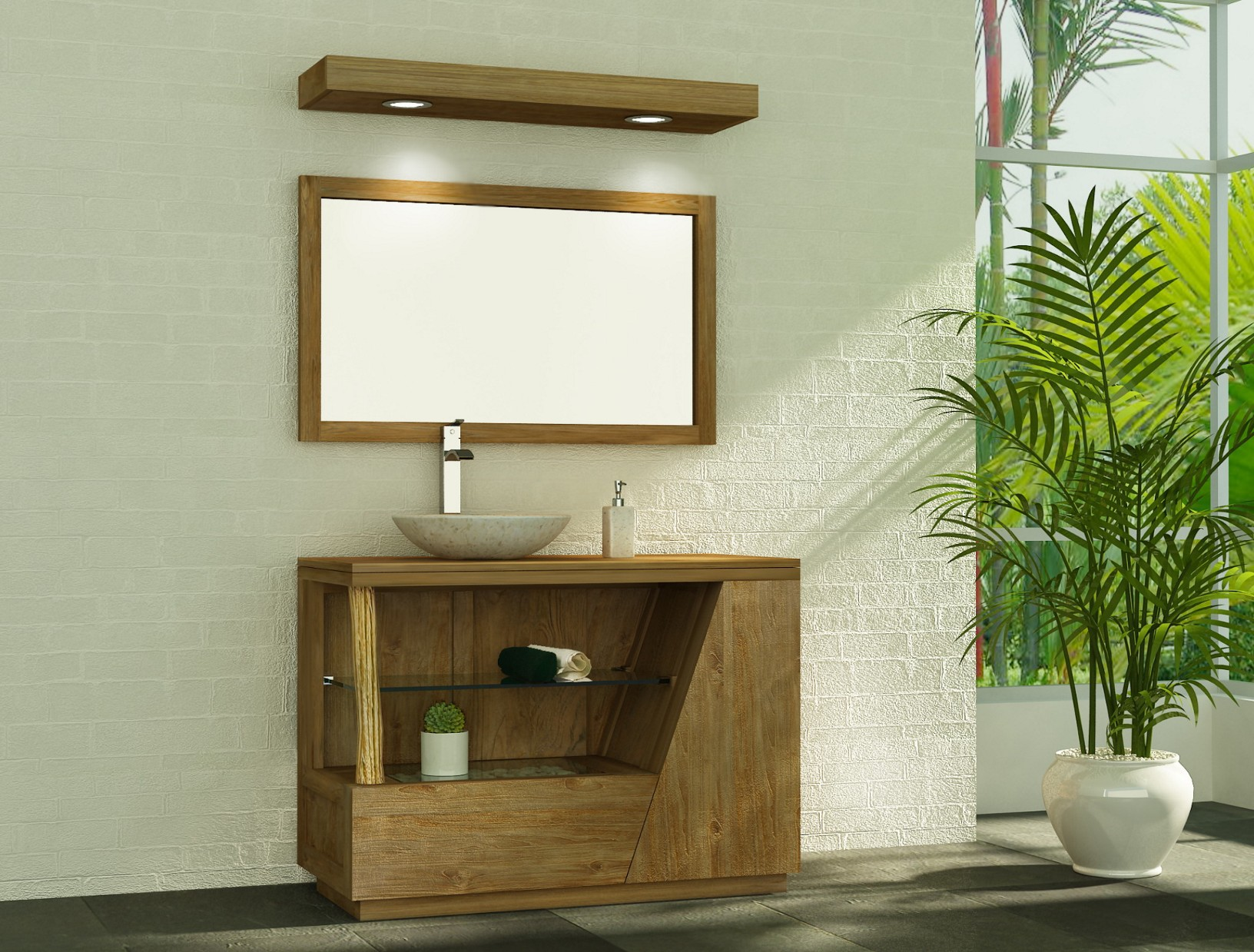 Meuble salle de bain en bois pour vasque poser meuble for Meuble sous vasque sur mesure