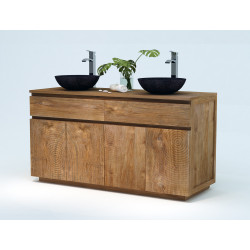 Meuble teck salle de bain Sawu + vasques bol béton ciré de Kayumanis, vendus sur www.design-salledebain.fr