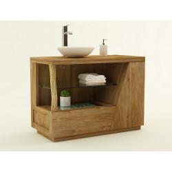Meuble teck de salle de bain Liane avec réceptacle produit et tiroir de Kayumanis