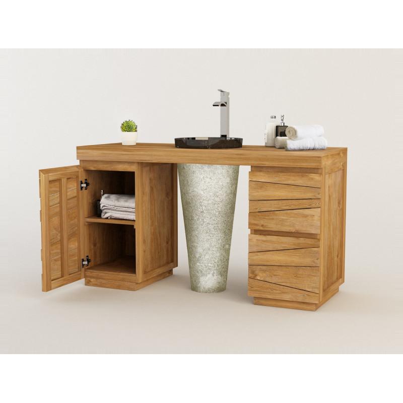 Meuble teck salle de bain TIMARE 2 colonnes, 1 vasque marbre - 150 cm