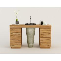 TIMARE meuble teck salle de bain à simple vasque colonne KAYUMANIS