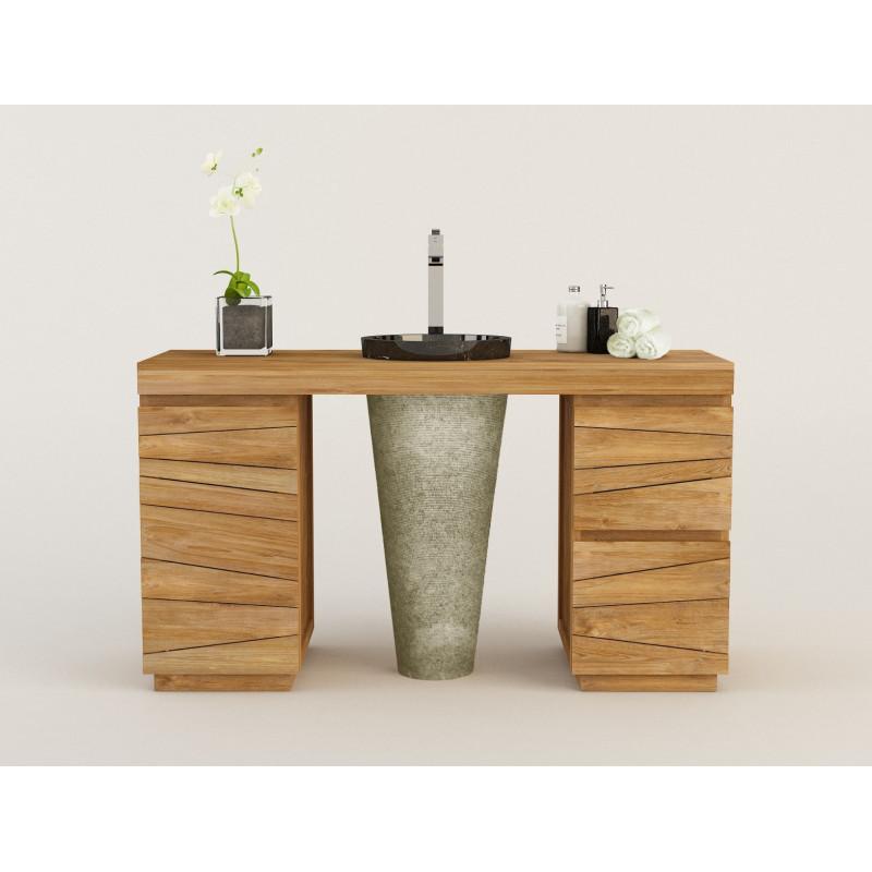 Meuble en teck mod¨le simple TIMARE et 1 vasque colonne en marbre