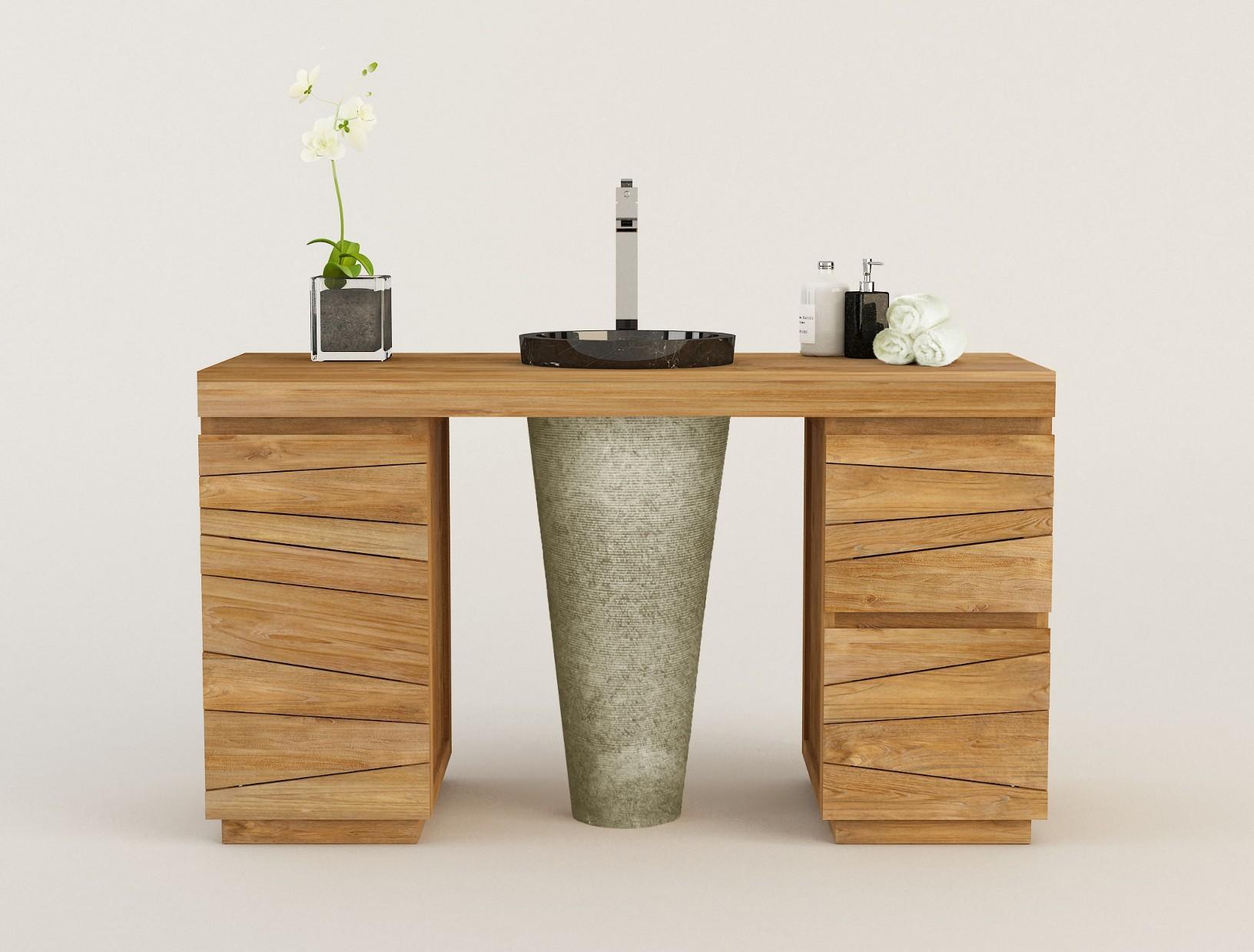 Meuble Pour Vasque Avec Colonne meuble en teck modèle simple timare et 1 vasque colonne en
