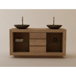 Meuble salle de bain teck double vasque SUMBAWA avec 3 tiroirs et réceptacle - Design Kayumanis