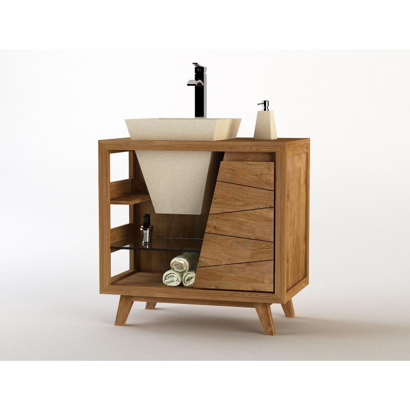 Meuble en teck sena vasque simple en pierre cr par for Entretien meuble teck