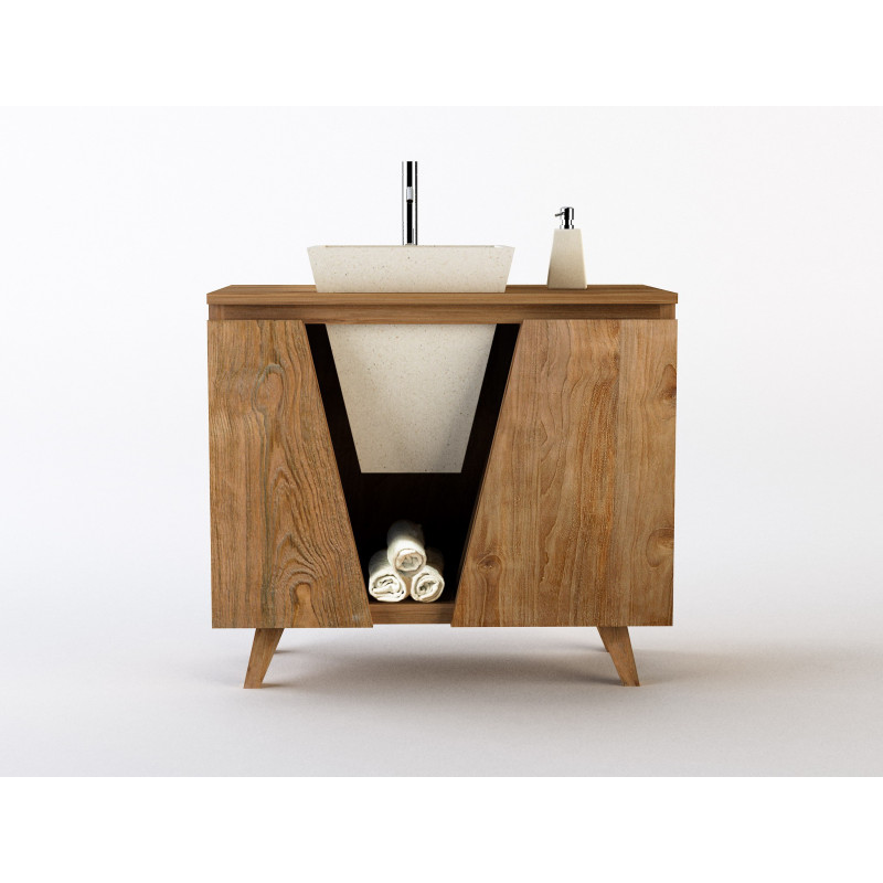 Meuble en teck sumatra vasque simple en pierre cr par for Entretien meuble teck