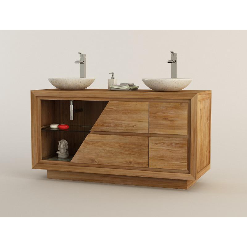 Meuble en teck ambon pour double vasque en pierre Meuble vasque pour petite salle de bain