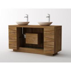 Meuble teck de salle de bain modèle Kupu kupu de Kayumanis en 150 cm vendu sur www.design-salledebain.fr