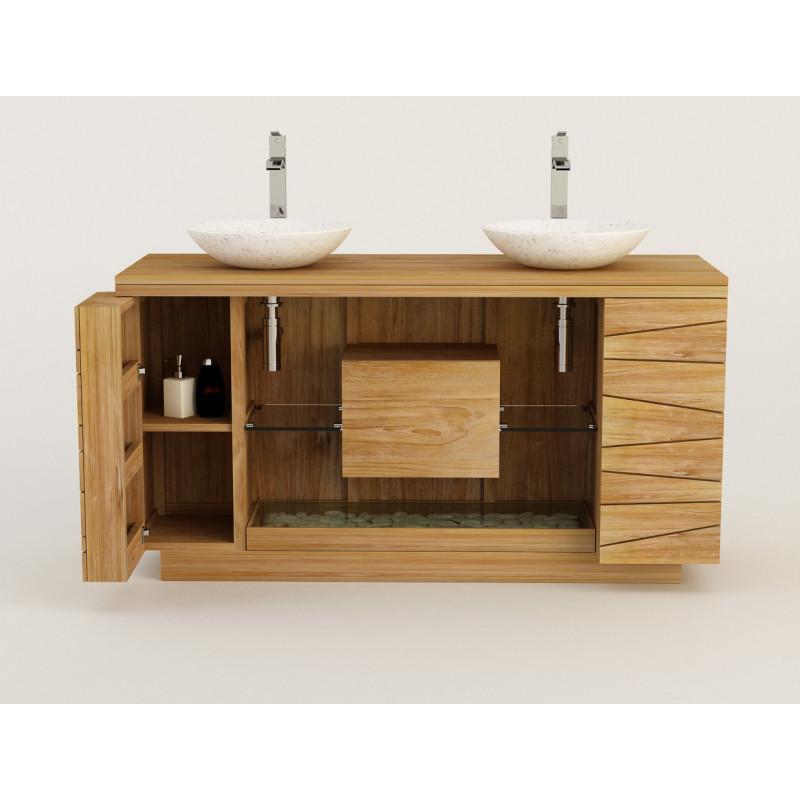 Meuble teck de salle de bain Kupu kupu de Kayumanis pour 2 vasques à poser, est vendu sur www.design-salledebain.fr