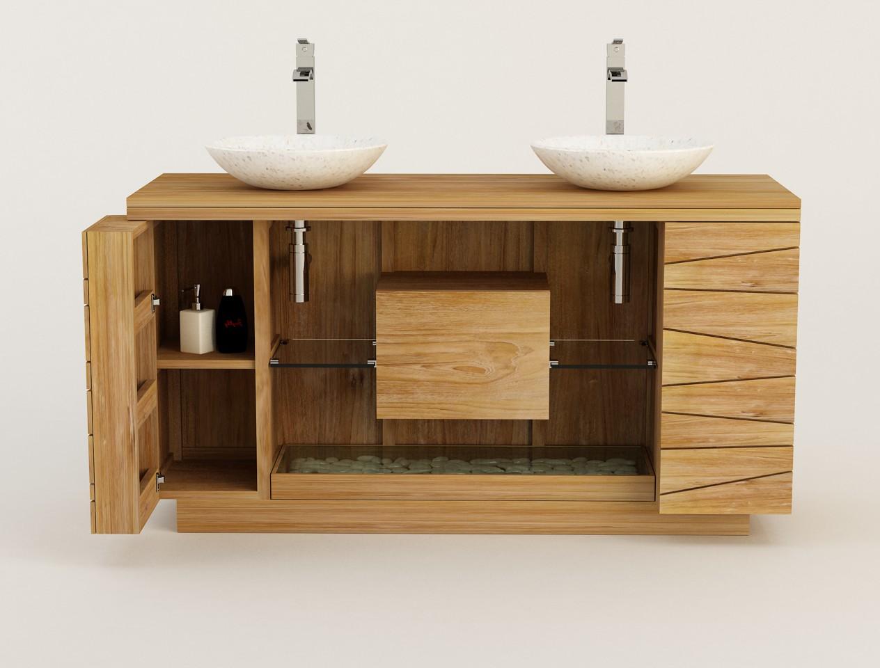 Meuble salle de bain en teck KUPU KUPU 18 cm double vasque Kayumanis