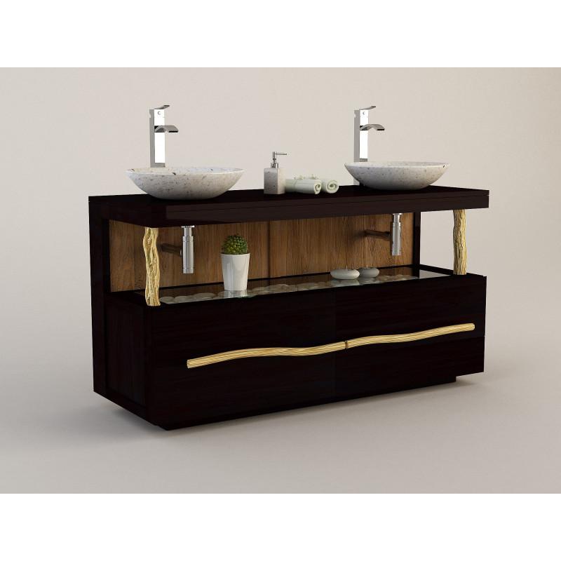 Meuble teck pour salle de bain Liane bicolore pour double vasque - Design Kayumanis mobilier de bain en teck