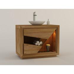 Meuble teck massif simple vasque pour salle de bain à 2 tiroirs - Modèle SIBERUT 100 cm design exclusif KAYUMANIS