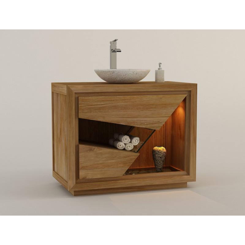 meuble salle de bain teck siberut de kaymanis - Meuble Salle De Bain Bois 1 Vasque