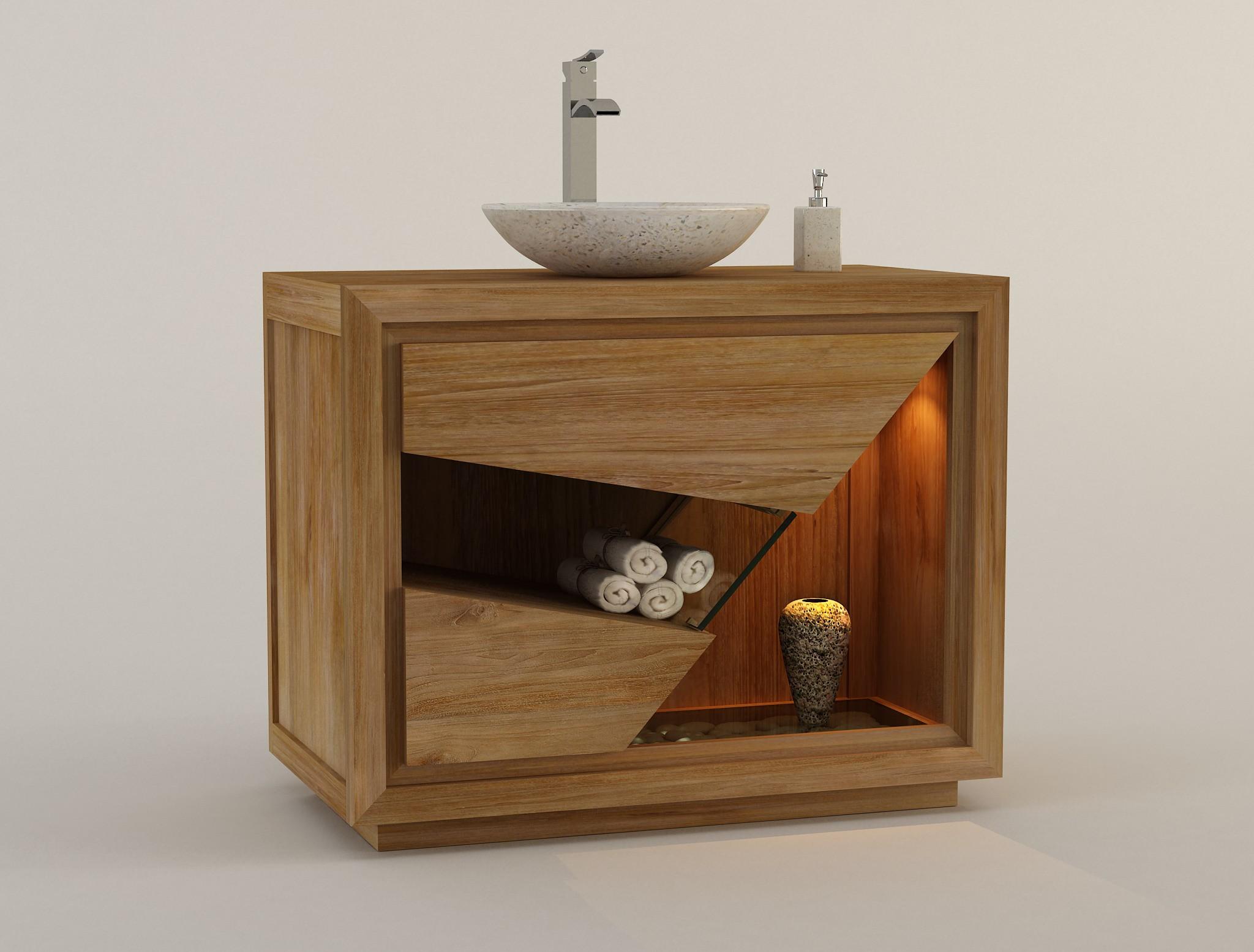 Meuble de salle de bain en teck pour 1 vasque SIBERUT design Kayumanis