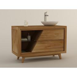 meuble salle de bain teck deux tiroirs