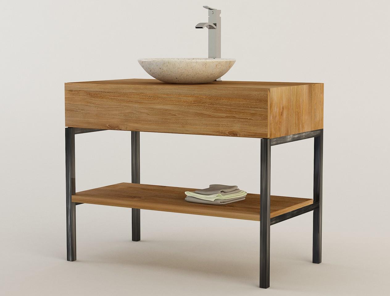 Vasque Sur Pied Avec Meuble meuble en teck et pieds en métal ambon pour 1 vasque