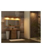 Meubles salle de bain teck massif à double vasque intégrée ou à poser
