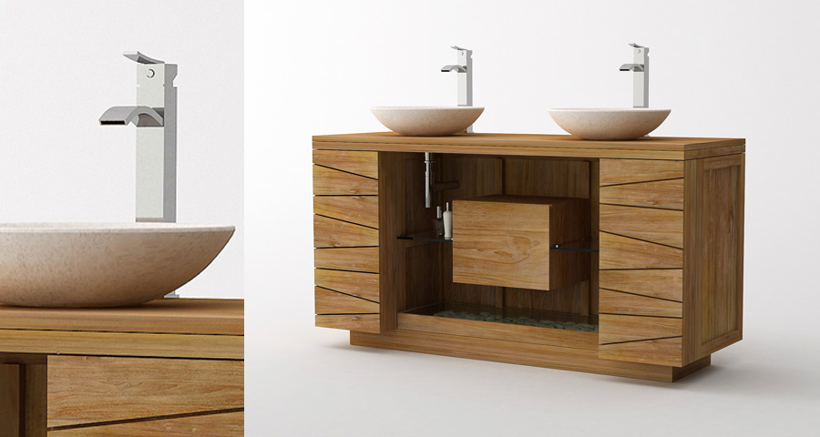 Meuble teck de salle de bain kayumanis - Meuble salle de bain en bois massif ...